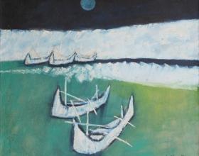 9-Jeihan Sukmantoro, Bluemoon (1995) Oil on Canvas 90cm X 95cm