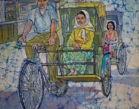 """14-Ismail Mat Hussin """"Trishaw"""" (1974) 57cm x 50cm Batik RM32,000"""