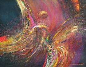 "18-Ismail Latiff ""Barungan Dance"" 64 x 90.5 cm Acrylic  & Mixed Media on Canvas 1993"