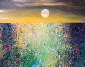 21-Ismail Latiff, Suria Senja...Warnai Bintang. 1997 Acrylic and Mixed Media on Canvas 65 cm x 178 cm