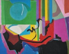 28-Khalil Ibrahim, Abstract II. 1968 Oil on Canvas 120 cm x 95 cm