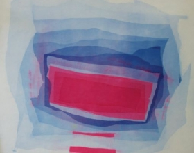 29-Khalil Ibrahim, Abstract in Blue and Red. 1972 SOLD | Batik 95 cm x 95 cm
