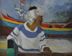 30-Khalil Ibrahim, Pantai Kudu I (A Continued Dialogue). 1999 Acylic on Canvas, 28 cm x 33.5 cm