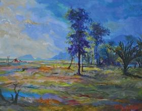 31-Khalil Ibrahim, Bachok Landscape. 2012 SOLD | Oil on Board 30.5 cm x 38 cm
