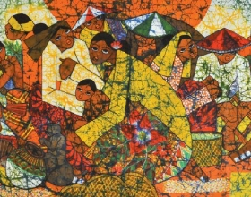 35-Kwan Chin, Market Scene I. 2013 Batik 84 cm x 154 cm