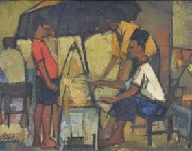 36-Long Thien Shih, Satay Seller. 1963 Oil on Board 35.5 cm x 59 cm