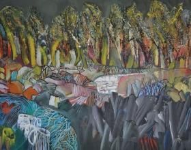 """45-Raphael Scott Ahbeng """"Forest Arena"""" (2010) Oil on Canvas 205cm x 315cm"""