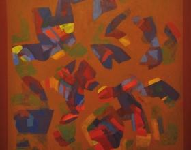 """48-Sharifah Fatimah Zubir Dato' """"Earthscape"""" (1992) Acrylic on canvas 119.5cm X 119.5cm"""