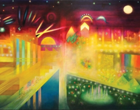 "52-Syed Ahmad Jamal, Datuk ""City By Night""(2006) Acrylic on Canvas 107cm x 183cm"