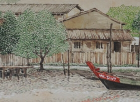 6-Chin Kon Yit, Malacca River. 1995 SOLD | Watercolour on Paper 6 cm x 27.5 cm