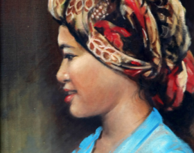 13-Mohd. Hoessein Enas, Dato', East Coast Girl. 1985 Oil on Canvas 40.5 cm x 30.5 cm