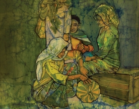 "15-Ismail Mat Hussin ""Vegetable Seller"" (1974) 57cm x 50cm Batik RM32,000"