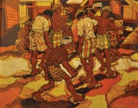 16-Ismail Mat Hussin, Playing Gasing. 1982 Batik 92 cm x 105 cm SOLD