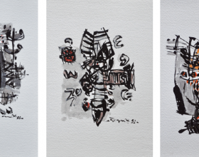 3-Awang Damit Ahmad, Essence of Culture Series I, II, & III. 1993 Mixed Media on Paper 28 cm x 19 cm