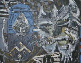 4-Awang Damit Ahmad, Essence of Culture (Intipati Budaya) Doa dan Syair Sang Pelaut. 1989 Mixed Media on Canvas 178 x 181cm