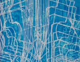 9-Fatimah Chik, Kebaya Series - Blue, 2006, 90.5 x 65 cm, Batik