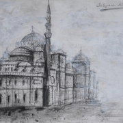 "9-RM 2,016.00-SOLD Lot 44 Najib Ahmad, "" Suleyman Mosque, Turkey"" 7 March 2009, Mixed Media On Paper, 28 x 41cm"