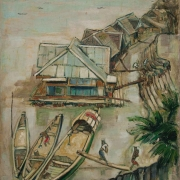 1-Sunny day at Raft houses, 1960-64 RM 35,200.00-SOLD | Oil on canvas | 74 x 54.4 cm