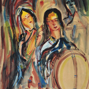 """RM 5,040.00-SOLD  Lot 16 Nikhil Biswas """"Ladies at a mirror"""" (1956) 56cm x 37cm Watercolour with guoache"""