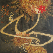 1-RM 13,200.00-SOLD Lot 18 Nizam Ambia, Blatik Dancer, 2004, Mixed media on canvas 152 x 147 cm