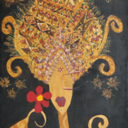3-Jentayu Series, 2004 RM 1,680.00-SOLD | Mixed media on canvas 146 x 78 cm