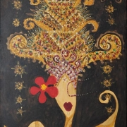 4-Jentayu Series, 2004 RM 2,240.00-SOLD   Mixed media on canvas 146 x 78 cm