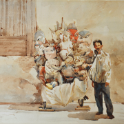 1-Man with Opera Masks, 1985 RM 29,120.00-SOLD | Watercolour on paper | 52 x 72 cm