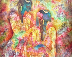 11-Flower Girls, 2005. Oil on Canvas. 150cm x 150cm