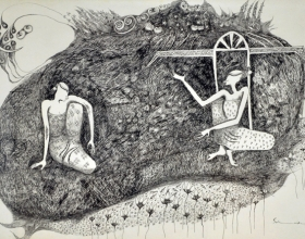 12-Gossip, 1998. Pen & Ink on Paper, 36cm x 54cm