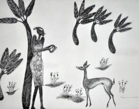 20-Longing for Love (II), 1998. Pen & Ink on Paper, 36cm x 54cm