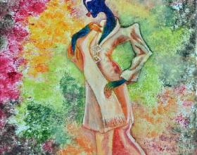 39-Waiting for the Lover in Kebaya Labuh Songket (1), 2011. Oil on Canvas. 31cm x 31cm