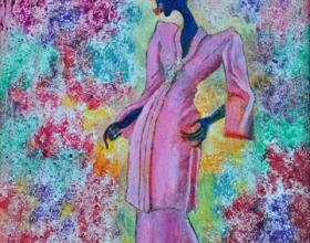 40-Waiting for the Lover in Kebaya Labuh Songket (2), 2011. Oil on Canvas. 31cm x 31cm