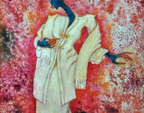 43-Waiting for the Lover in Kebaya Labuh Songket (5), 2011. Oil on Canvas. 31cm x 31cm
