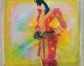 44-Waiting for the Lover in Kebaya Labuh Songket (6), 2011. Oil on Canvas. 31cm x 31cm