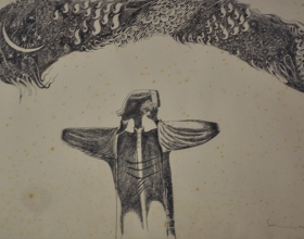 1-Allahu-Akbar, 1998 Ink on Paper. 38cm x 54cm