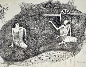 12-Gossip, 1998. Pen & Ink on Paper, 36cm x 54cm