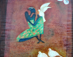 3-Declaration of Love, 1997. Oil on Canvas. 92cm x 92cm