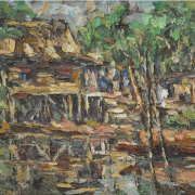 3-Kampung Scene, 1996 RM 7,150.00-SOLD | Oil on canvas | 53 x 70 cm