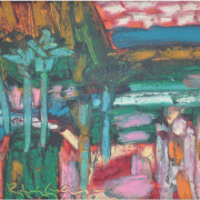 8-River Wild with Palms, 2001 RM 4,400.00-SOLD   Oil on canvas   25.3 x 35.3 cm