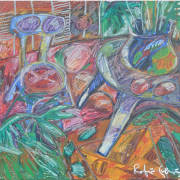 9-Blue Chair and Blue Table, 1995 RM 19,800.00-SOLD   Mixed media on canvas   129 x 138 cm
