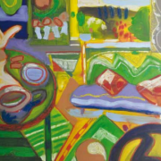 1-Still Life in Green, 1996 RM 13,200.00-SOLD   Mixed media on canvas   103 x 91.5 cm