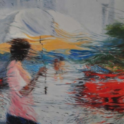 1-Red Car, 2006 RM 5,500.00-SOLD | Acrylic on canvas | 91.5 x 76.5 cm