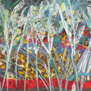 12-RM 11,000.00-SOLD RSA Forest in Gold, 2009, Acrylic on canvas, 96.5 x 128 cm