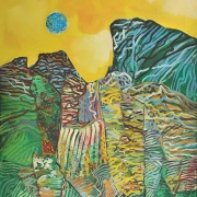 "29-RM 11,200.00-SOLD Raphael Scott Ahbeng ""Blue Moon"" (2009) Acrylic on canvas 121 x 91 cm"