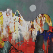 33-RM 6,720-SOLD Raphael Scott Ahbeng _Limestone mountains of Bidi_ (2012) Oil on board 61cm x 91cm RM 12800