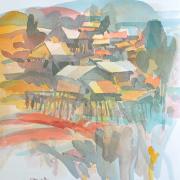 35-672 Village, 1989 Watercolour on paper 42 x 29 cm