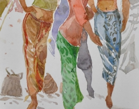 16-Khalil Ibrahim, East Coast Series (undated) SOLD Watercolour on Paper 14.5cm x 21cm
