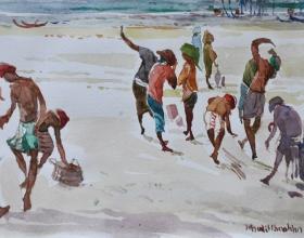 18-Khalil Ibrahim, East Coast (2001) SOLD Watercolour on Paper 14.5cm x 21cm