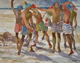 19-Khalil Ibrahim, Fishermen East Coast Series (2002) SOLD Watercolour on Paper 30cm x 40cm
