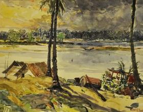 21-Khalil Ibrahim, Kota Bharu (1995) Watercolour on Paper 54cm x 36cm